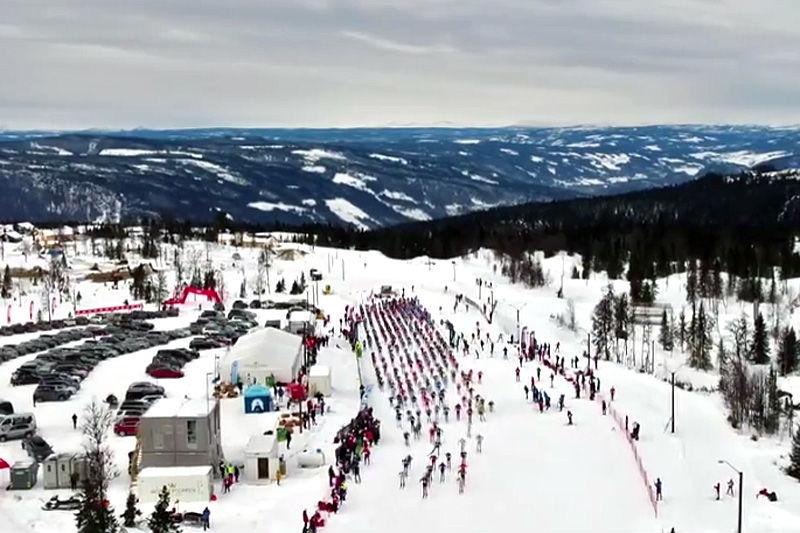 Skjembilde fra videoen for Hafjell Ski Marathon 2017.
