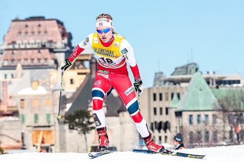 Ragnhild Haga i aksjon under verdenscupavslutningen i Quebec 2017. Foto: Modica/NordicFocus.