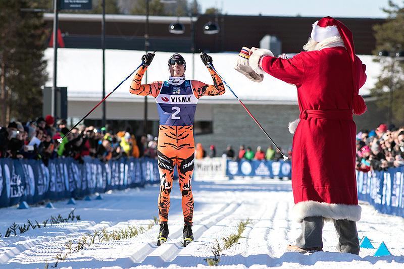 Petter Eliassen inn til seier i Ski Classics-finalen Ylläs-Levi forrige vinter. Foto: Manzoni/NordicFocus.