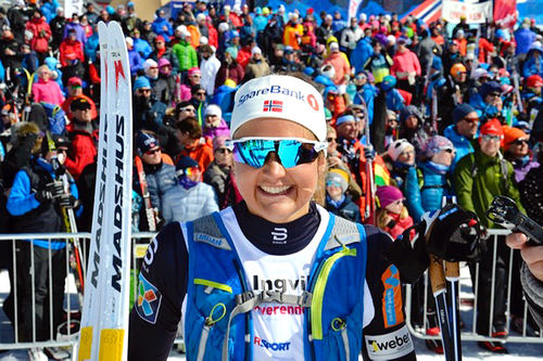 Ingvild Flugstad Østberg satte ny løyperekord da hun toppet Skarverennet 2017. Arrangørfoto.