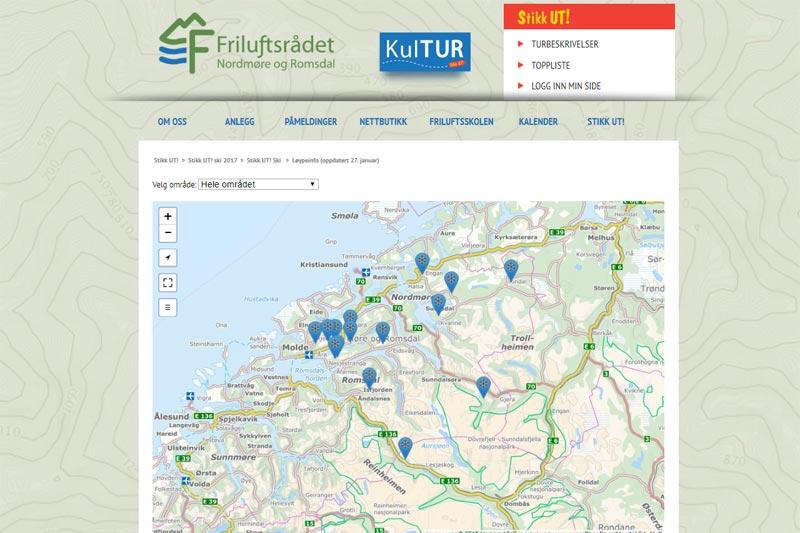 Her er Løyper.net bakt inn i Stikk UT-prosjektet i Nordmøre og Romsdal sin egen nettside, slik at man der kan se oppkjørte skispor rett i Stikk UT-portalen. Grafikk: Løyper.net.