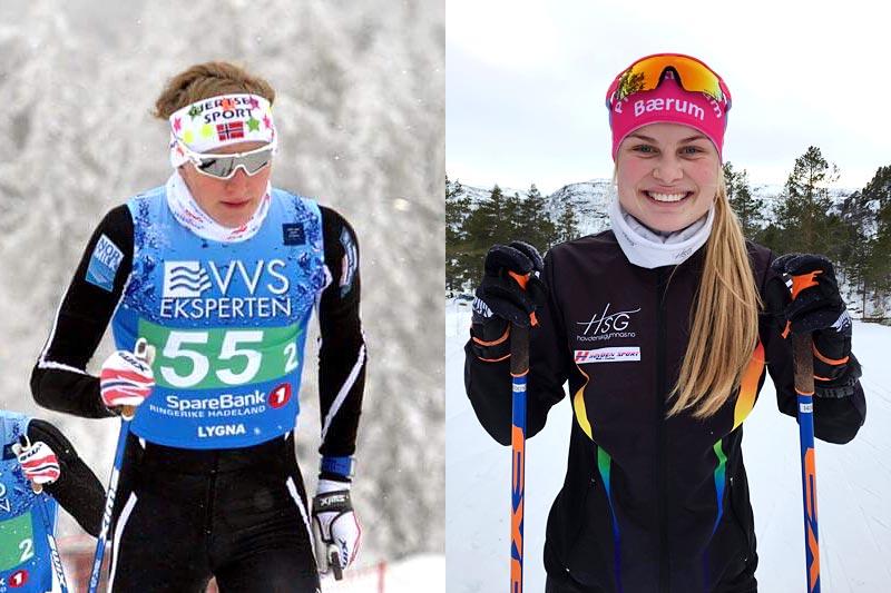 Til venstre Matias Øvrum og ved hans side Julie Bjervig Drivenes, de begge ble vinnere av Bli rå på ski-stipendet 2017. Foto: Ann Kristin Saastad og privat.