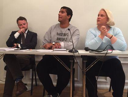 Kunnskapsminister Torbjørn Røe Isaksen, Elevorganisasjonens leder Rahman Chaudhry og FUG-leder Gunn Iren Müller på Arendalsuka 2017
