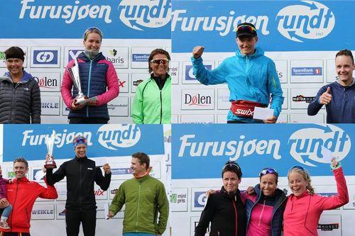 Pallen for kvinner og menn i Furusjøen Rundt-løpet og Furusjøen Rundt-trippelen 2017. Arrangørfoto.