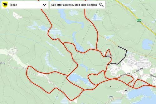 Skiløyper som GPS-spores gjennom løsningen til Løyper.net sendes rett videre til kommunens løsning fra Norkart. Grafikk: Tokke kommune, Norkart og Løyper.net.
