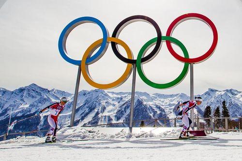 Olympiske leker med Marit Bjørgen og Therese Johaug under OL Sotsji 2014. Foto: NordicFocus.