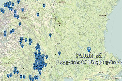 Løyper.net har slått igjennom i Sverige og etablert Längdspår.se og der fått med seg blant flere andre det svenske hovedanlegget i Falun, Lugnet, som blant annet brukes i forbindelse med Svenska Skidspelen. Grafikk: Längdspår.se / Langrenn.com.