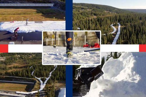 Vinter og snø i skiløypene hos Sjusjøen Skisenter og Natrudstilen allerede nå tidlig i oktober 2017. Bildecollage basert på film fra Mono Media. Fotomontasje: Langrenn.com.