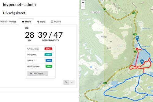 Løyper.net kommer med viktig funksjonalitet. Kartbildet viser en løype merket rød i kartløsningen som publikum ser på nett, det betyr at den er stengt grunnet vanskelig vær og/eller usikker is, eller andre forhold. Grafikk: Løyper.net / Langrenn.co