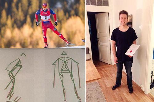 Øyvind Gløersen har forsket på langrenn og dobbeldans og skrevet masteroppgave, selv står han til høyre i bildet, broren Anders er øverst til venstre (foto: Laiho/NordicFocus) og nede til venstre er det en skisse laget av Øyvind.