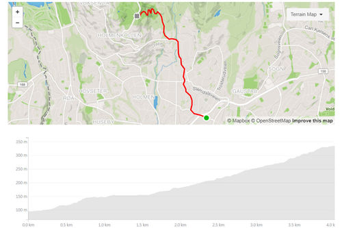 Dæhlie Test Run er et nytt populært Strava-segment, der blant andre løpere fra skilandslaget har testet seg. Skjermdump fra Strava.com.