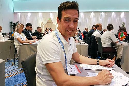 Eldar Rønning på plass i Monte Carlo og klar som utøverrepresentant i EOCs utøverkommisjon. Foto: Kjartan Haugen.