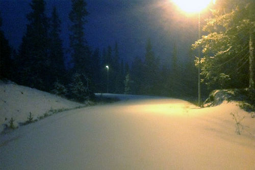 Tirsdag morgen faller natursnøen ned på den lagrede snøen og skaper flotte skiforhold på Sjusjøen Natrudstilen. Foto: Johannes Haukåssveen.