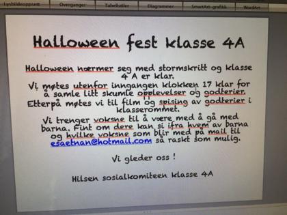 Halloweenplakat fra 4A, Korsvoll skole