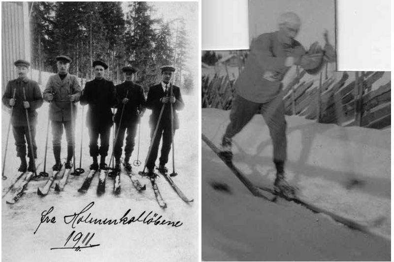 Fra boka Skibygda Trysil - Slit og glede av Thor Gotaas: Skiløpere i Holmenkollen i 1911, Elling Rønes helt til venstre. Til høyre: Johan Skjærbæk, med datidas typiske knytte eller lommetørkle på hodet.