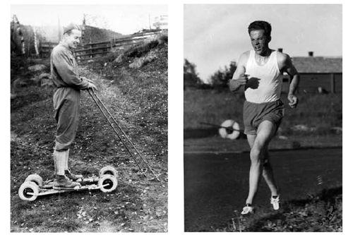 Fra boka Skibygda Trysil - Slit og glede, av Thor Gotaas: Jørgen Myhre med de kjære rulleskiene. På KM 10 000 meter Elverum i 1955. Det var nesten 30 varmegrader, og Jørgen vant.