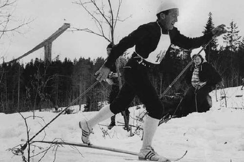 Fra boka Skibygda Trysil - Slit og glede, av Thor Gotaas: Hallgeir Brenden i Holmenkollrennet, sannsynligvis i 1963.