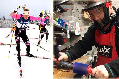 Espen Hagen som smører ski, med illustrasjonsbilde av eliteløpere. Foto: Geir Nilsen/Langrenn.com (tv) og privat.
