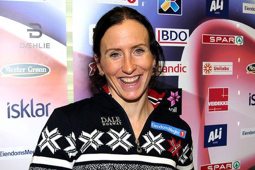 Marit Bjørgen i forbindelse med Norges Skiforbunds pressekonferanse foran Beitosprinten 2017. Foto: Erik Borg.