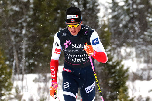 Johannes Høsflot Klæbo i fint driv i åpningsrennet på Beitosprinten 2017. Distansen var 15 kilometer klassisk og Klæbo endte på 2. plass. Foto: Erik Borg.