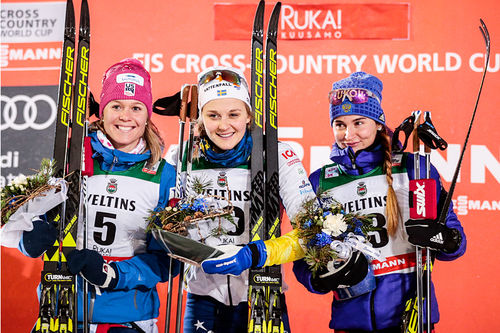 Damepallen etter sprinten under verdenscupen i finske Ruka 2017. Fra venstre: Sadie Björnsen (2. plass), Stina Nilsson (1) og Yulia Belorukova (3). Foto: Modica/NordicFocus.
