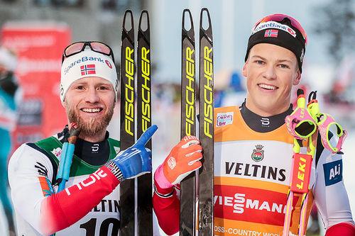 Martin Johnsrud Sundby måtte ta til takke med 2. plass da Johannes Høsflot Klæbo smadret til i spurten under skiathlon-rennet på verdenscupen i Lillehammer. Foto: Modica/NordicFocus.