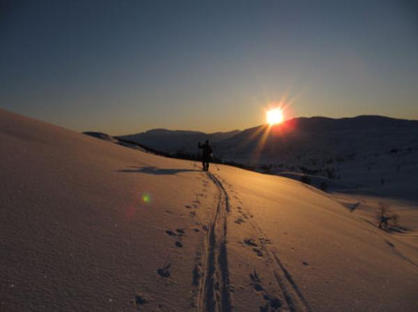 Skiløper i vinterfjell