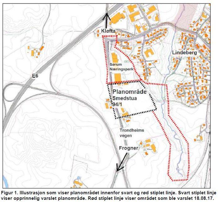 Illustrasjon av planområde for Smedstua og nytt næringsområde
