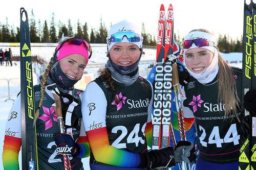Hovden Skigymnas-elever under uttaksrennene til Junior-VM på Natrudstilen ved Sjusjøen i desember 2017. Foto: Hovden Skigymnas.