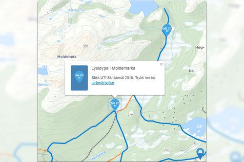 Stikk UT! Ski i lysløypa i Moldemarka. Skjermdump fra Løyper.net.