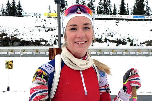 Emilie Kalkenberg i trening på Sjusjøen Skiskytterarena. Foto: NMS Camp Sjusjøen Mesnali/May-Sylvi Skinnerlien.