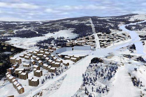FAMILIEOMRÅDE OG LEILIGHETER: Ved det åpne område til venstre i bildet kommer det nye familieområdet med både bakker, leiligheter og servicefunksjoner i Hafjell Mosetertoppen.