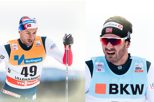 Petter Northug (tv) og Hans Christer Holund. Foto: Modica/NordicFocus.