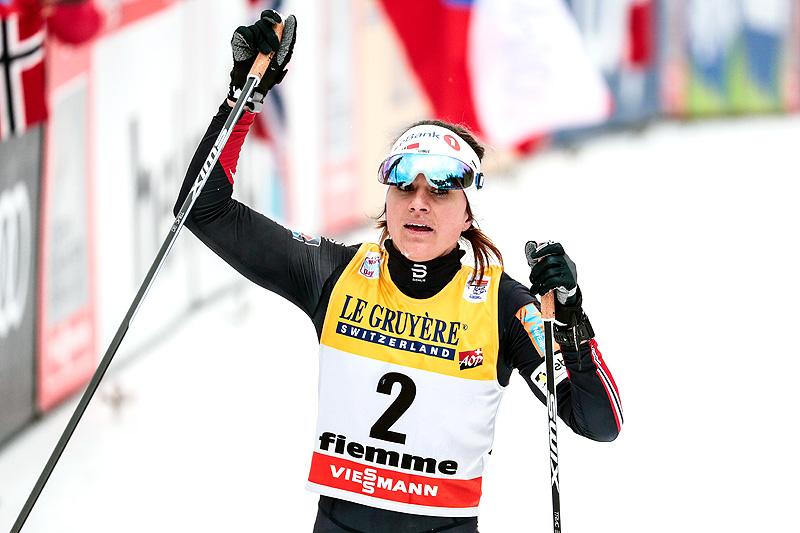 Heidi Weng går inn til totalseier i Tour de Ski 2017-2018. Foto: Modica/NordicFocus.