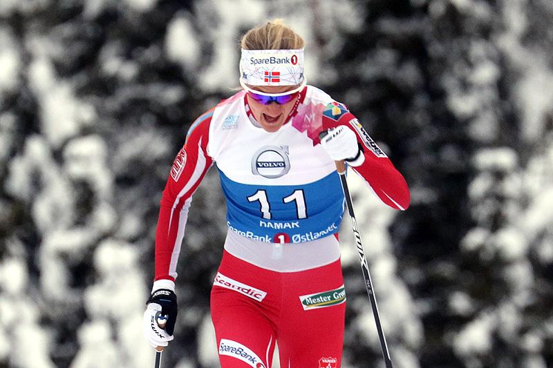Kathrine Harsem på vei mot prologseier under NM-sprinten på Gåsbu 2018. Foto: Erik Borg.