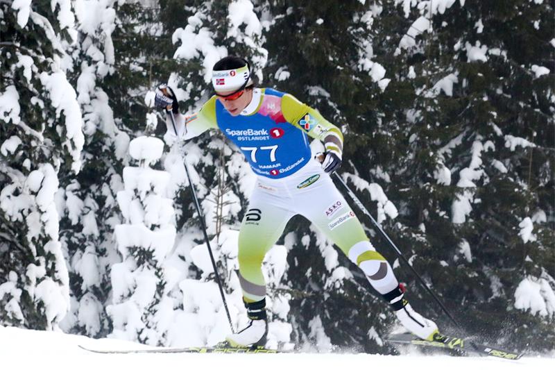 Marit Bjørgen på vei mot NM-gull på 10 km fri under mesterskapet på Gåsbu 2018.