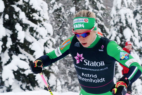 Astrid Uhrenholdt Jacobsen på vei mot sølvmedalje under NM på Ski på Gåsbu 2018, kun to tideler fra gullet. Foto: Erik Borg.