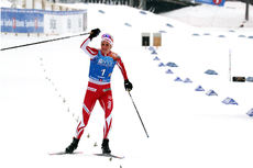 Kathrine Harsem går IL Varden Meråker inn til et suverent NM-gull på stafetten under mesterskapet på Gåsbu 2018. Foto: Erik Borg.