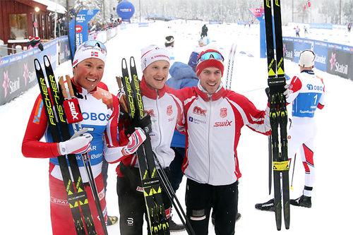 IL Varden Meråker gikk til topps i guttas NM-stafett på Gåsbu 2018. Fra venstre: Emil Iversen (3. etp), Jørgen Sæternes Ulvang (2) og Thomas Albertsen Dahlen (1). Foto: Erik Borg.