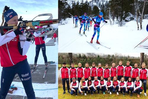 Skiløpere og skiskyttere ved Sirdal videregående skole sesongen 2017/2018. Foto: Sirdal Vgs.