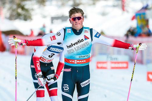 Johannes Høsflot Klæbo kontrollert inn til seier på verdenscupsprinten i Planica 2018. Foto: Modica/NordicFocus.