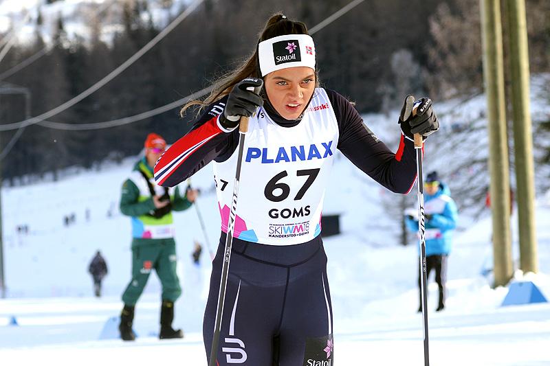 Kristine Stavås Skistad ble nummer 5 på 5 km klassisk under Junior-VM i Goms og Sveits 2018. Foto: Erik Borg.