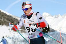 Jon Rolf Skamo Hope på vei mot gull på 10 kilometer klassisk under Junior-VM i Goms 2018. Foto: Erik Borg.