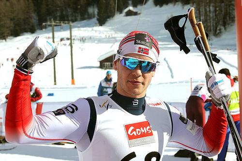 Mattis Stenshagen ble verdensmester på 15 km klassisk under U23-VM i sveitsiske Goms 2018. Foto: Erik Borg.