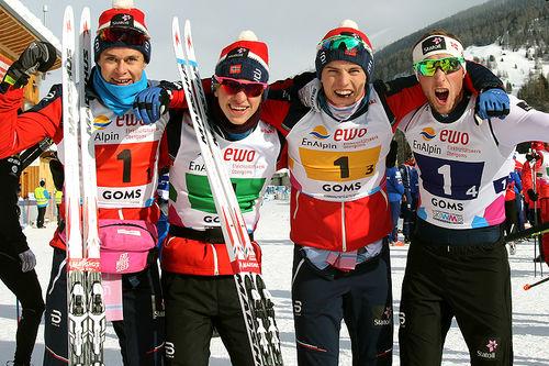 Det norske gullaget fra herrestafetten under Junior-VM i Goms og Sveits 2018. Fra venstre: Harald Østberg Amundsen (1. etappe), Jon Rolf Skamo Hope (2), Håvard Moseby (3) og Jørgen Lippert (4). Foto: Erik Borg.