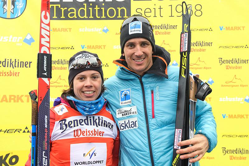 Tore Bjørseth Berdal sammen med Aurelie Dabudyk, vinnerne av König Ludwig Lauf 2018. Foto: Rauschendorfer/NordicFocus.