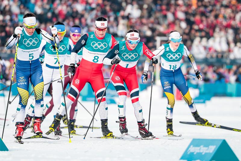 Feltet under 15 km skiathlon i OL Pyeongchang 2018. Foto: Modica/NordicFocus.