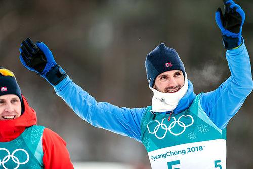 Hans Christer Holund (t.h.) og Simen Hegstad Krüger tok henholdsvis bronse og gull på skiathlon-øvelsen under OL i Pyeongchang 2018. Begge gutta hører hjemme i Lyn Ski. Foto: Modica/NordicFocus.