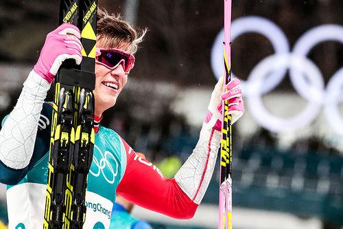 Johannes Høsflot Klæbo ble tidenes yngste gullvinner i langrenn med sin overlegne seier på sprinten i OL Pyeongchang 2018. Foto: Modica/NordicFocus.