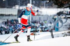 Maiken Caspersen Falla på vei mot OL-sølv i Pyeongchang 2018. Foto: Thibaut/NordicFocus.